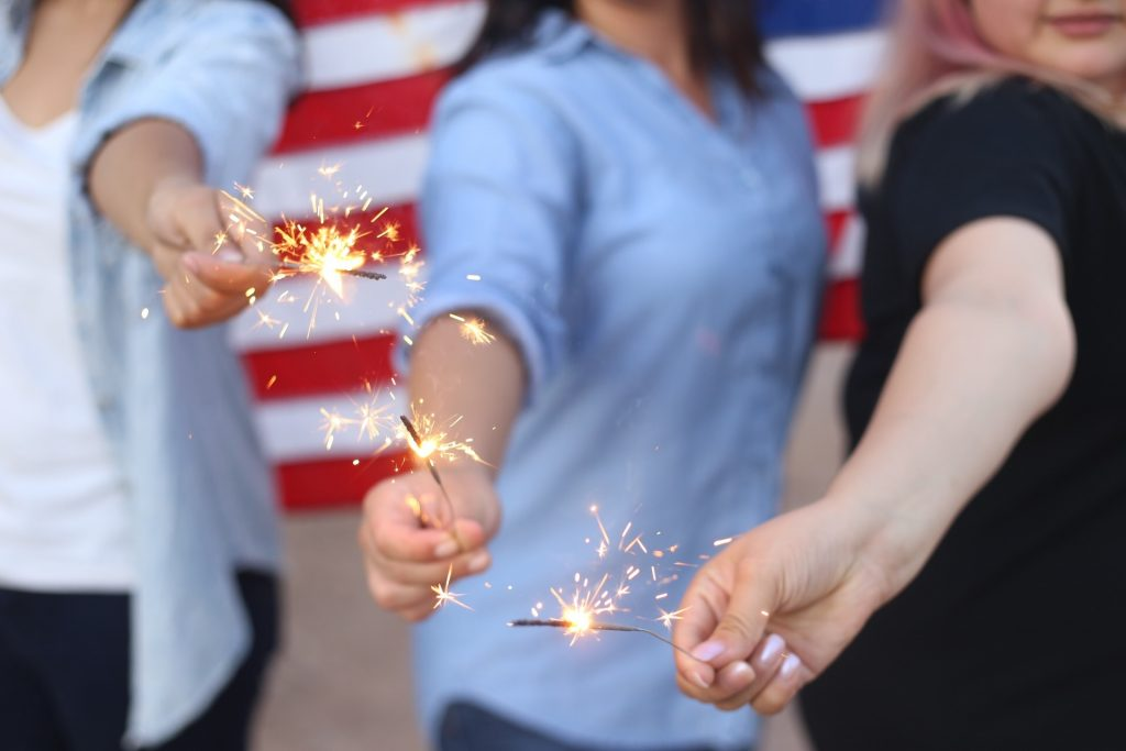 Sparklers with U.S. Flag