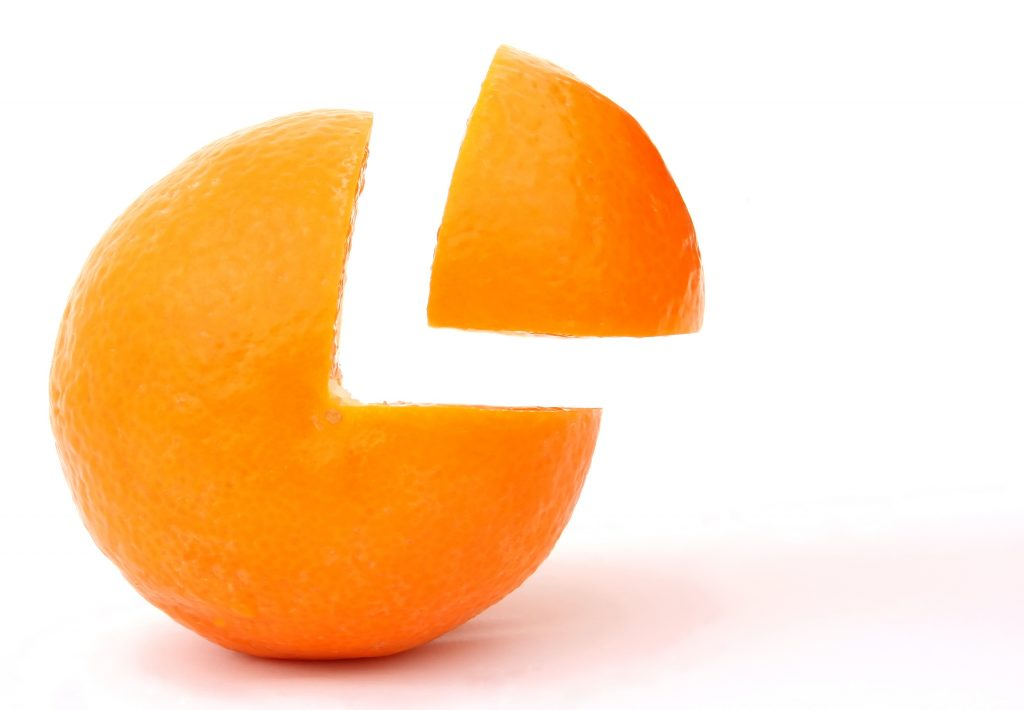 Orange with Quarter Part Removed but Nearby