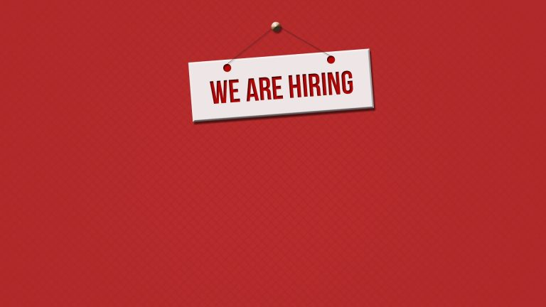 We are Hiring Sign with Red Background