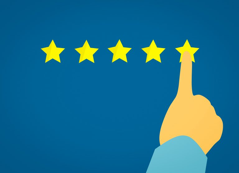 5 Stars with Finger Pushing 5th Star - Rating Like