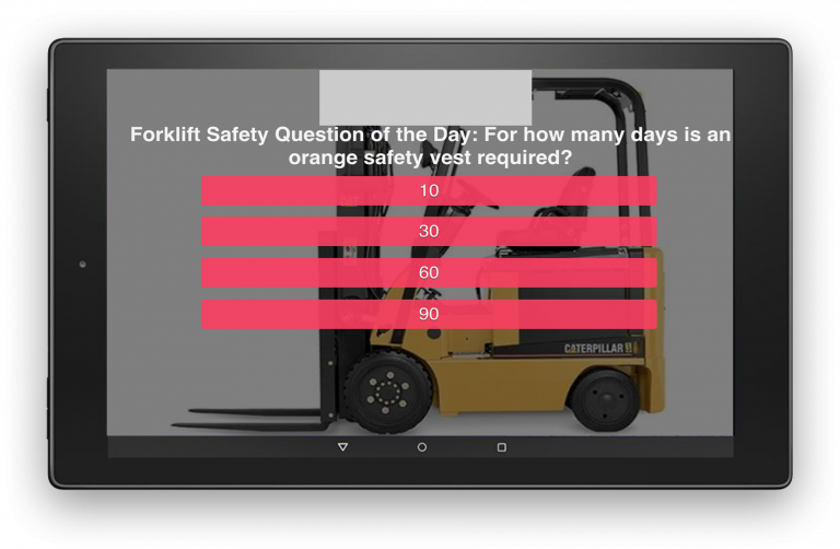 Kiosk Showing Poll Question on Forklift Safety